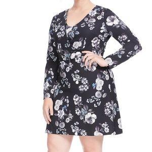 new ADRIANNA PAPELL etch floral long sleeve dress